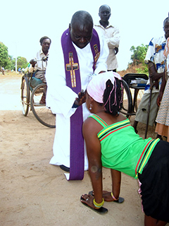 Woman receiving communion